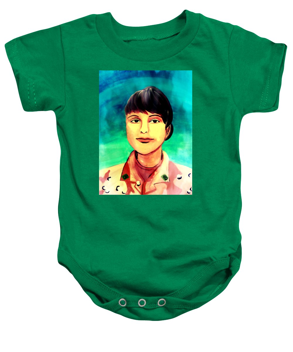 Operation Desert Storm Baby Onesie featuring the painting Desert Storm Jennifer by Michelle Dallocchio