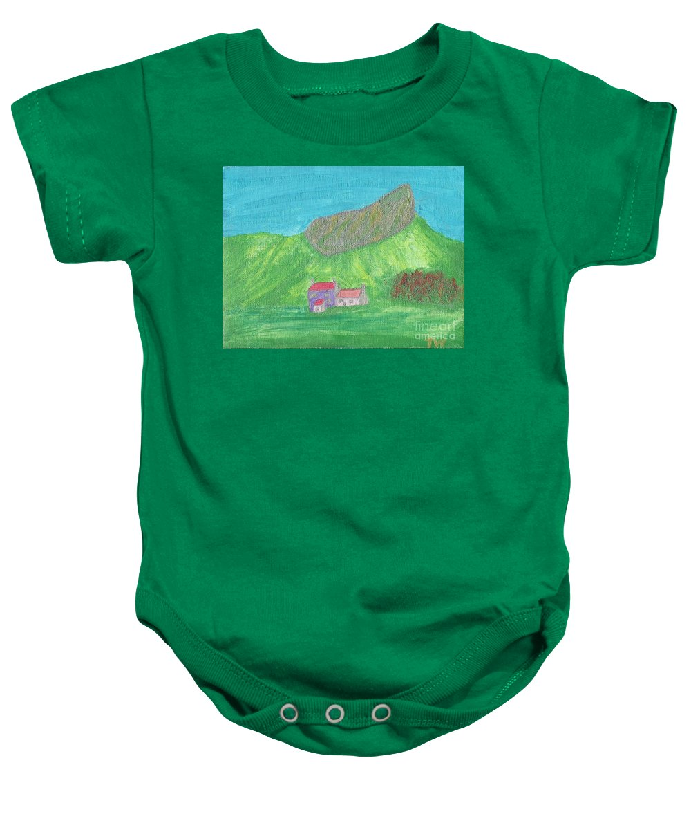 Eigg Mountain Baby Onesie featuring the painting Eigg by Tracey Williams