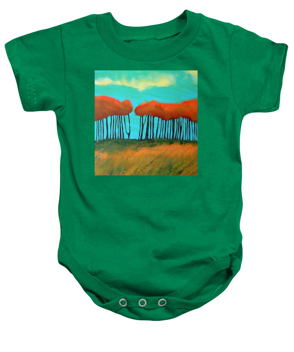 Landscape Baby Onesie featuring the painting Field 9 by Rhodes Rumsey