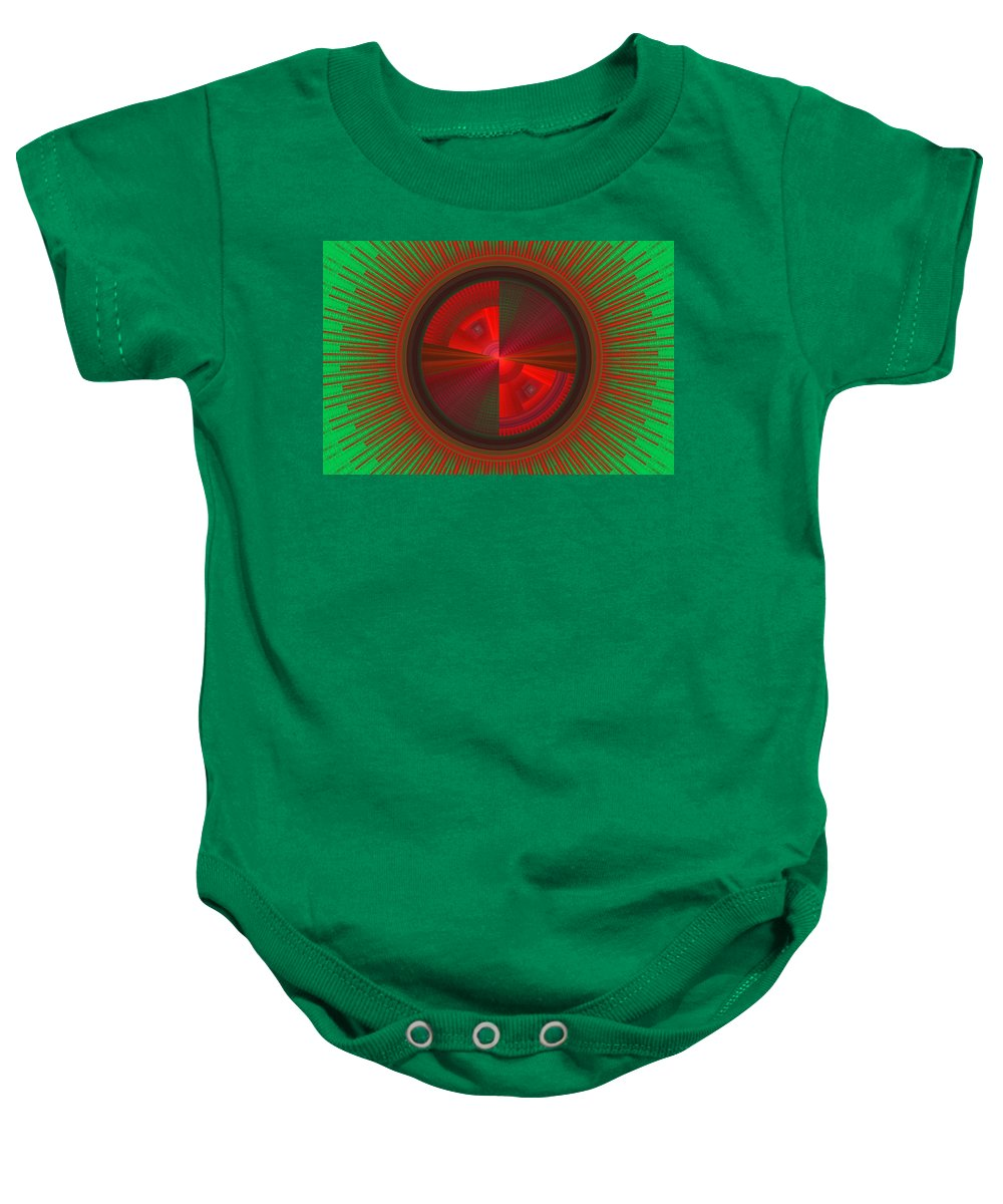 Fractal Baby Onesie featuring the photograph Futuristic Green And Red Tech Disc Fractal Flame by Keith Webber Jr