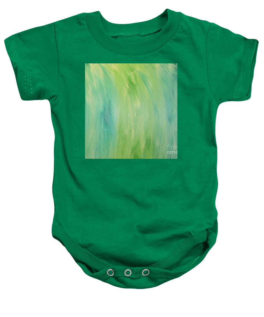 Abstract Of Green Shades Baby Onesie featuring the painting Green Shades by Barbara Yearty