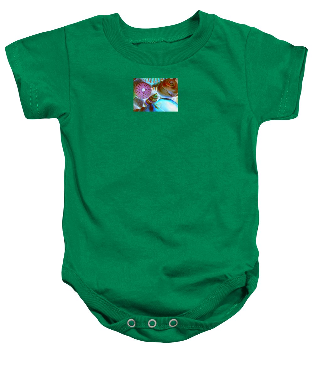 Seashells Baby Onesie featuring the photograph I Sell Seashells Down By The Seashore by Janice Westerberg