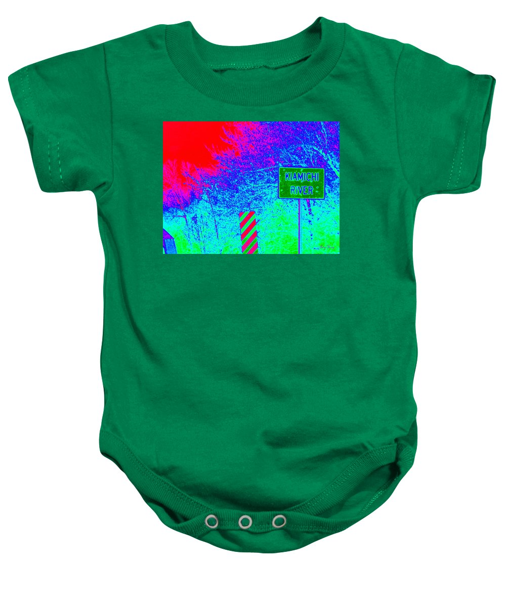 Neon Art Baby Onesie featuring the photograph Imaginary River Crossing by Amy Hosp