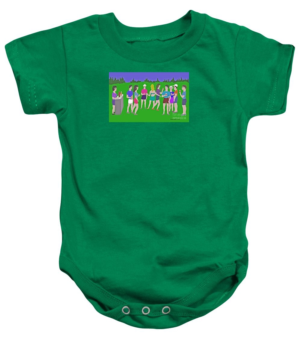 Party Baby Onesie featuring the painting Lawn Party by Fred Jinkins