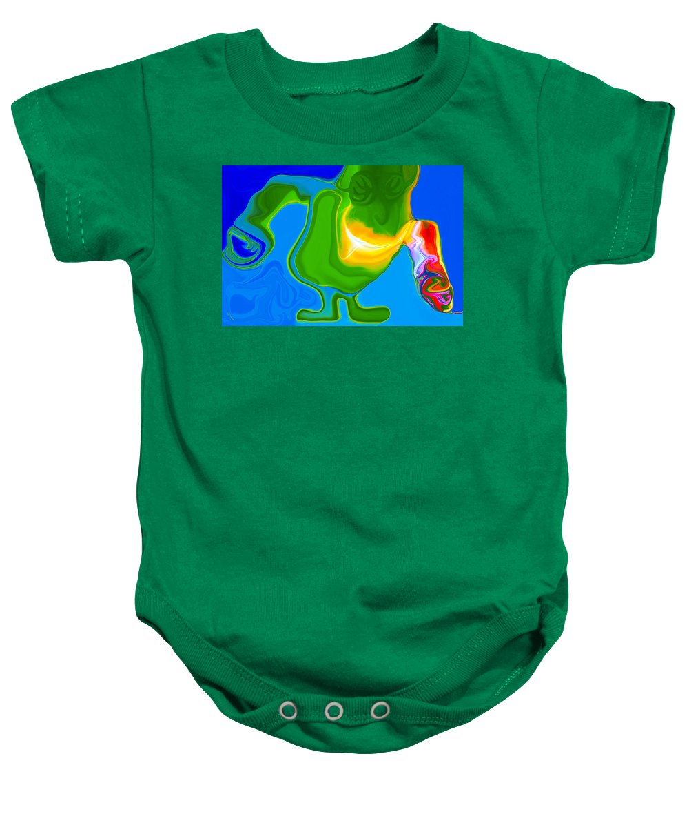 Blue Baby Onesie featuring the painting Lean Green Machine by Omaste Witkowski