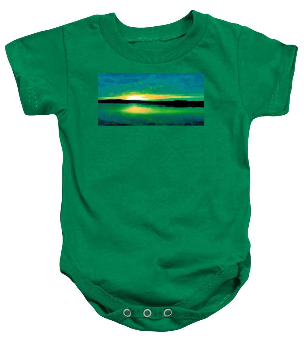 Digital Baby Onesie featuring the digital art Lime Sunset by David Hansen