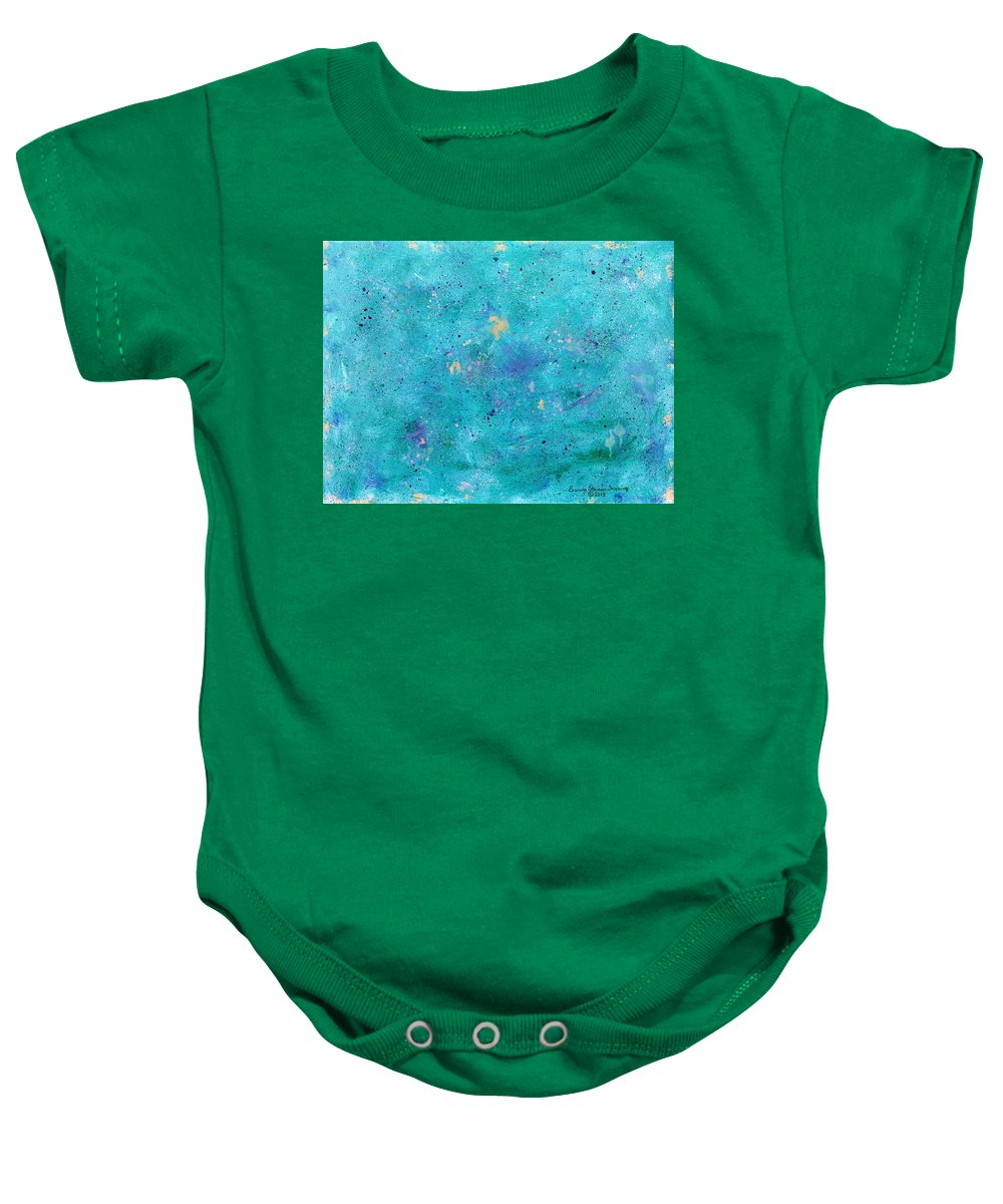Seascape Baby Onesie featuring the painting Mermaid Slumber by Brenda Stevens Fanning
