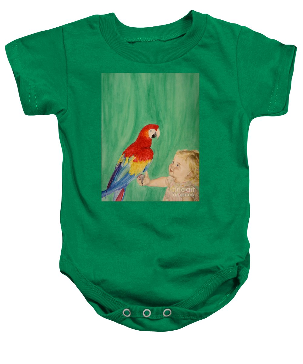 Parrot Baby Onesie featuring the painting Mika And Parrot by Tamir Barkan