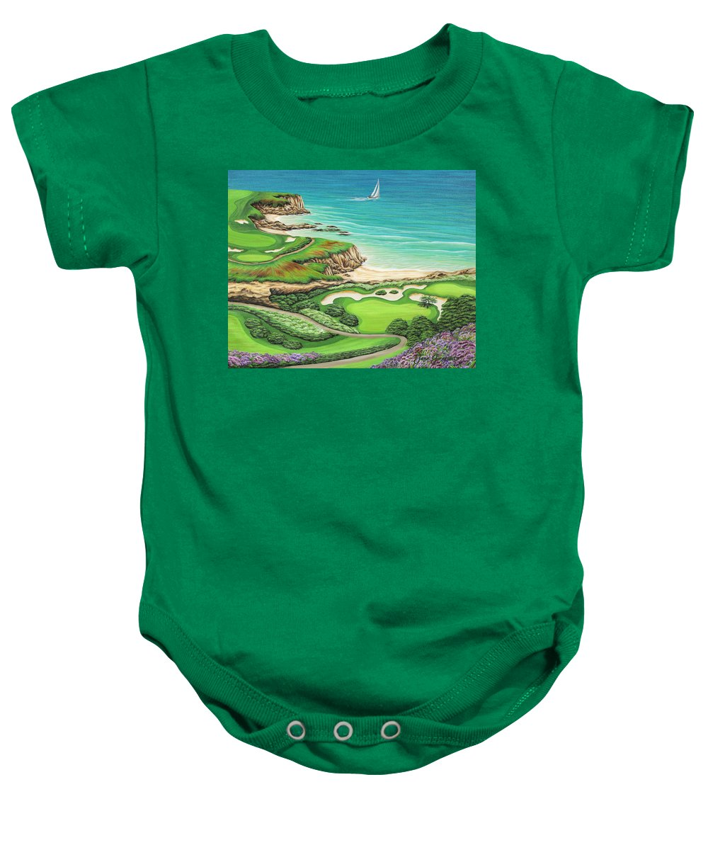 Ocean Baby Onesie featuring the painting Newport Coast by Jane Girardot
