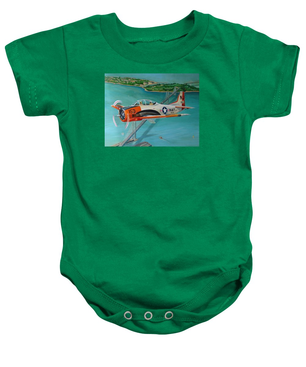 Aviation Baby Onesie featuring the painting North American T-28 Trainer by Stuart Swartz