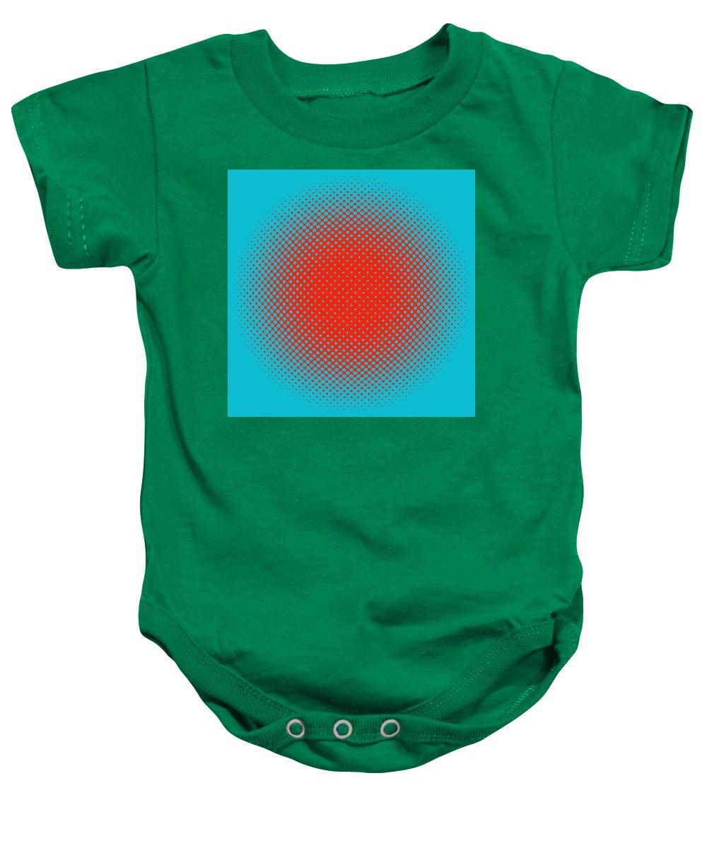 Popular Baby Onesie featuring the digital art Optical Illusion - Orange On Aqua by Paulette B Wright