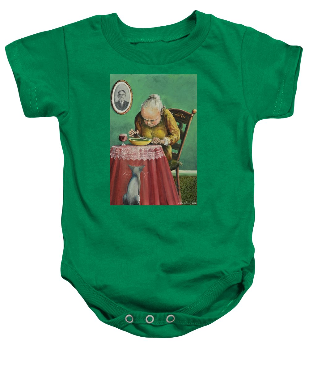 Soup Cabernet Baby Onesie featuring the painting Pea Soup And Cabernet by Shelly Wilkerson