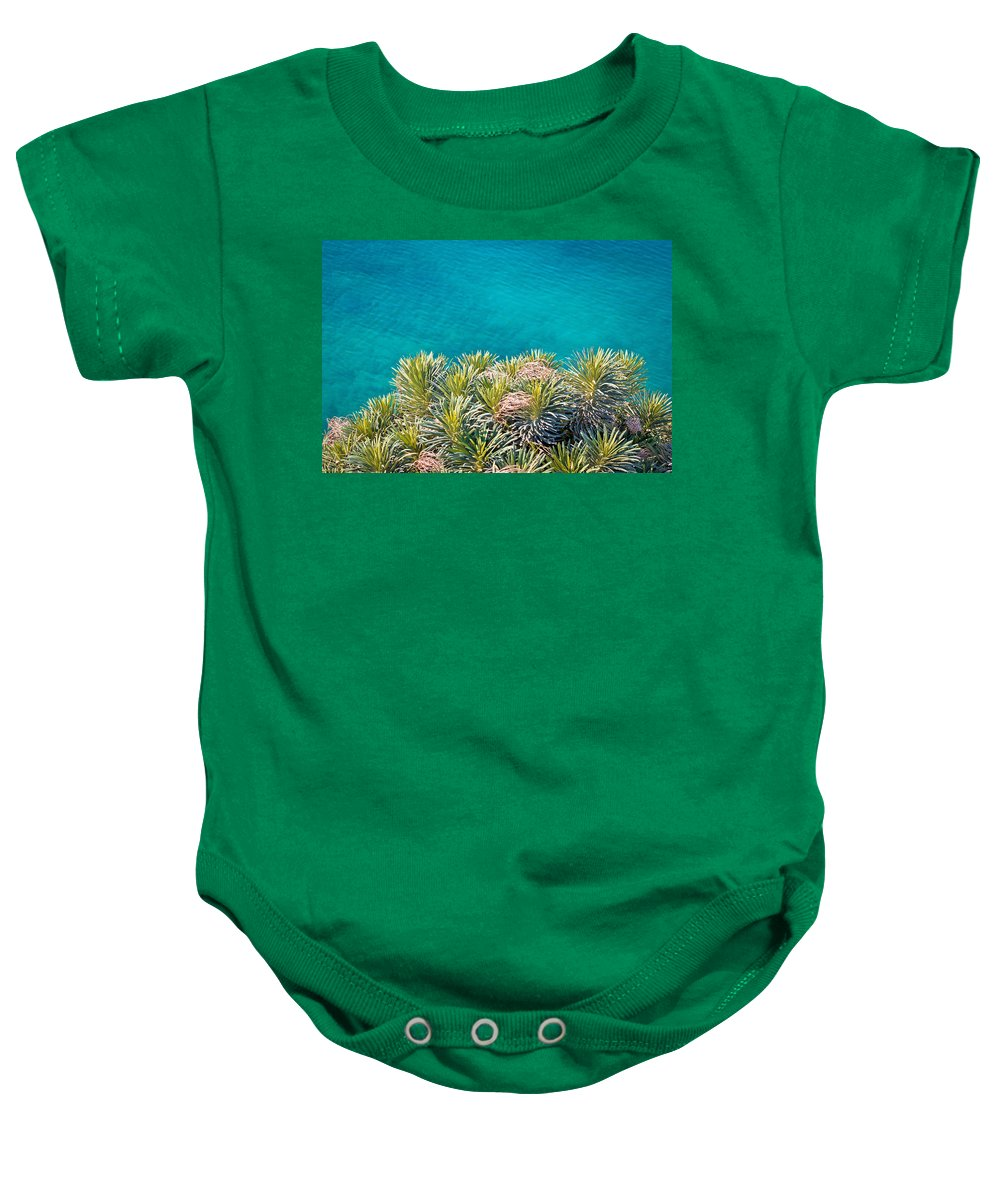 Pine Baby Onesie featuring the photograph Pine Tree Branches With Turquoise Sea Background by Brch Photography