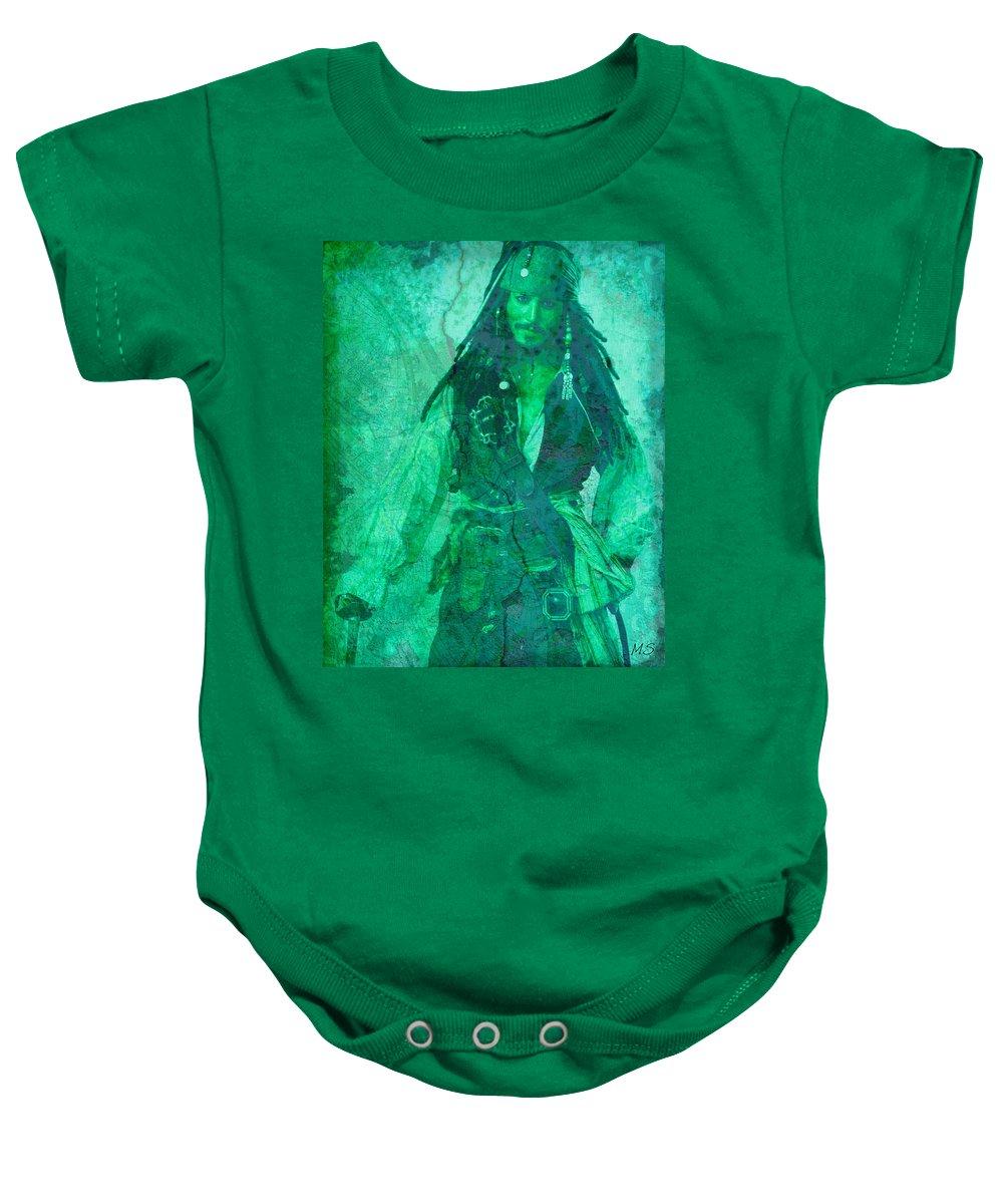 Pirate Baby Onesie featuring the digital art Pirate Johnny Depp - Shades Of Caribbean Green by Absinthe Art By Michelle LeAnn Scott