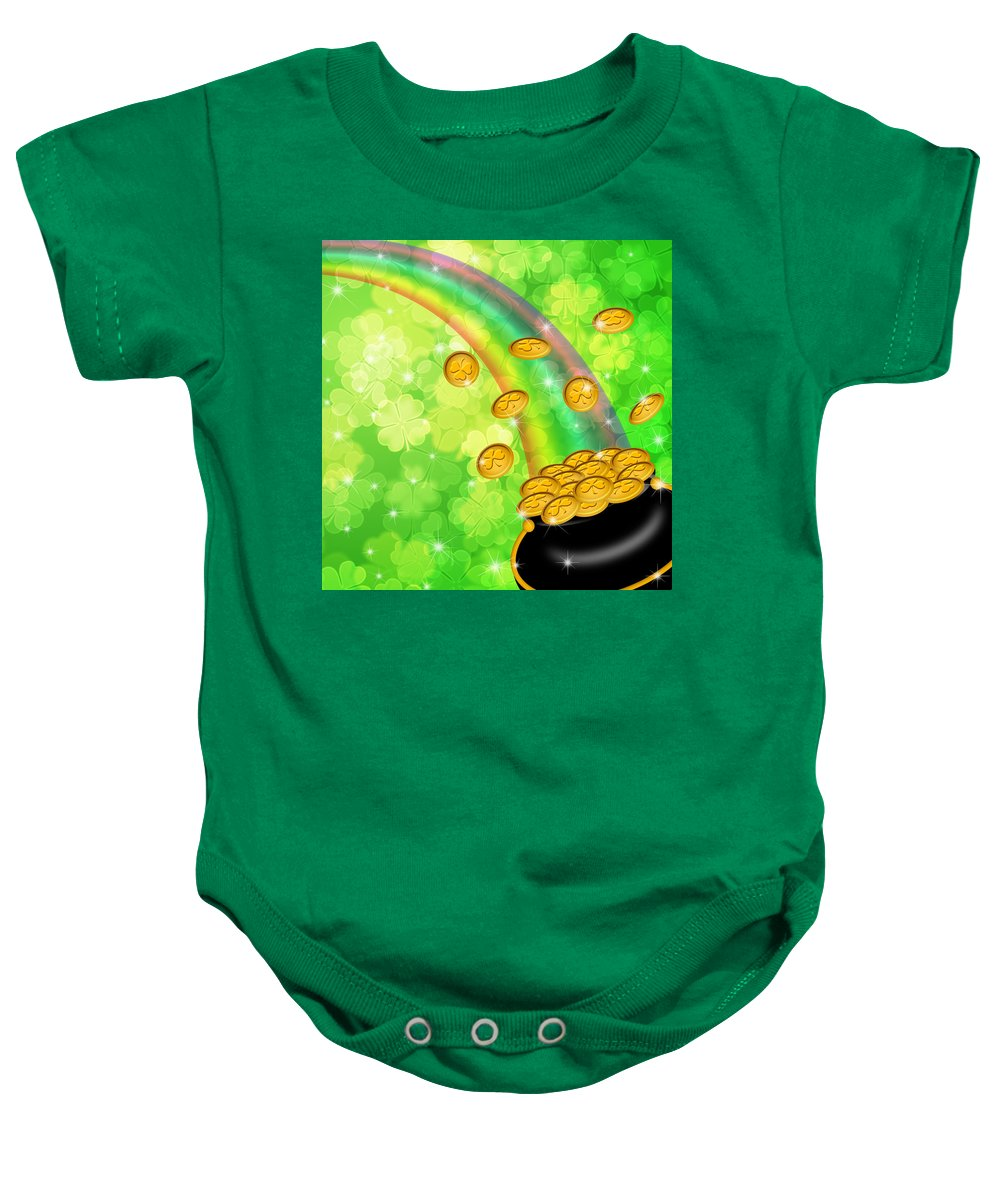 Pot Baby Onesie featuring the digital art Pot Of Gold Shamrock Blurred Background by Jit Lim