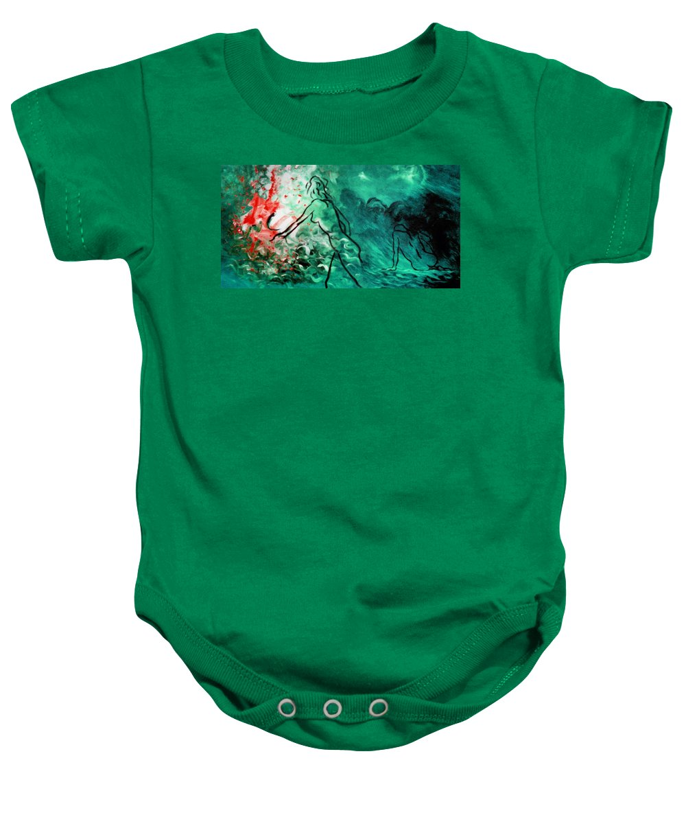 Genio Baby Onesie featuring the mixed media Psychological State Of Emerald by Genio GgXpress