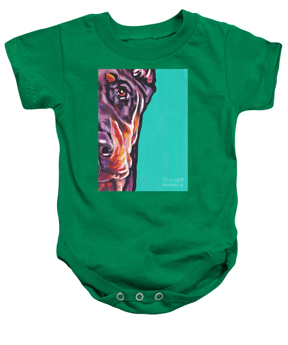 Red Doberman Pinscher Baby Onesie featuring the painting Red Dobie Man by Lea S