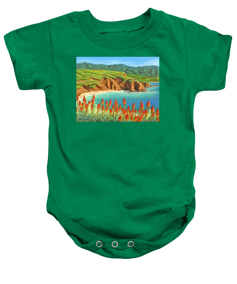 Ocean Baby Onesie featuring the painting San Mateo Springtime by Jane Girardot