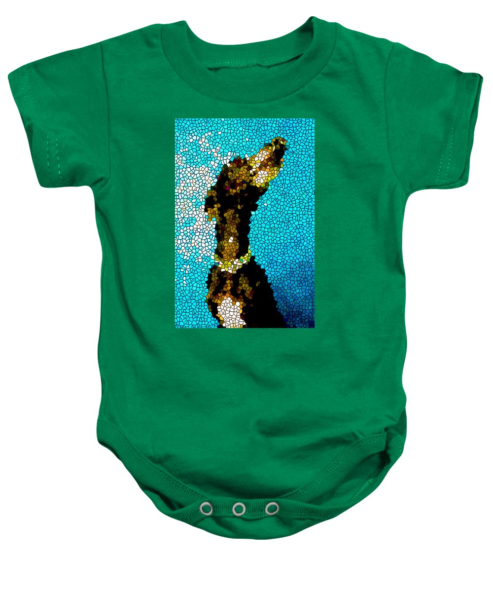 Stained Glass Doberman Pinscher Dog Baby Onesie featuring the painting Stained Glass Doberman Pinscher Dog by Jeelan Clark
