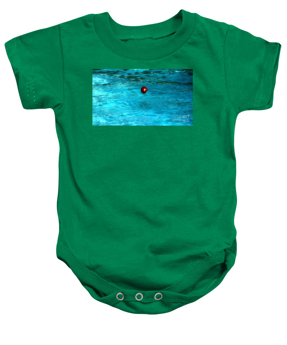 Fresh Baby Onesie featuring the photograph Suspended Apple by Crystal Harman