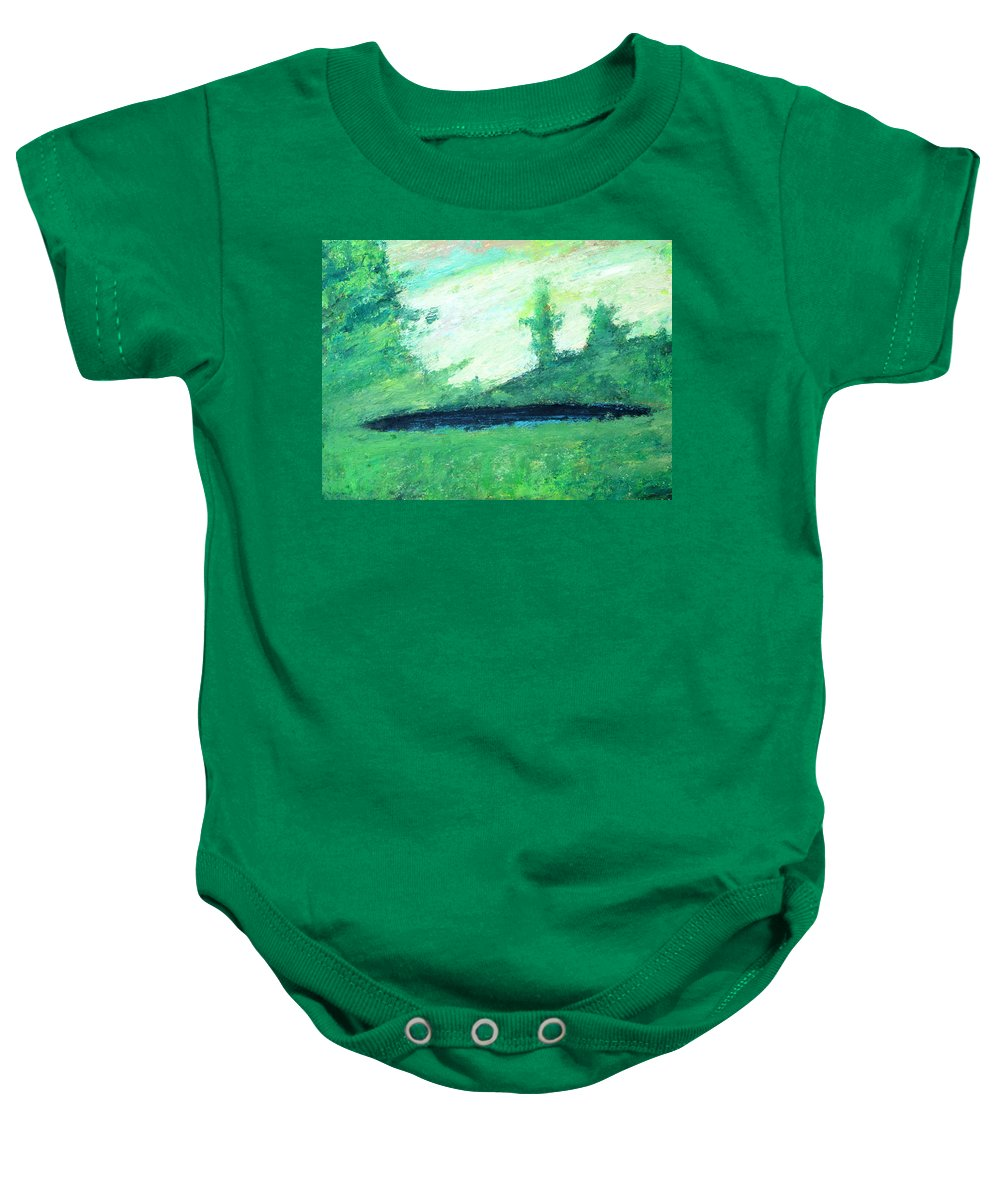 Lake Baby Onesie featuring the painting The Black Lake by Fabrizio Cassetta