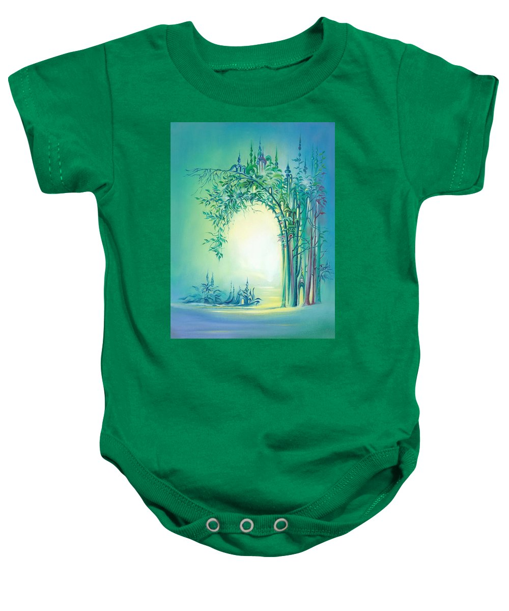 Light Baby Onesie featuring the painting The Boundary Bush by Anna Ewa Miarczynska