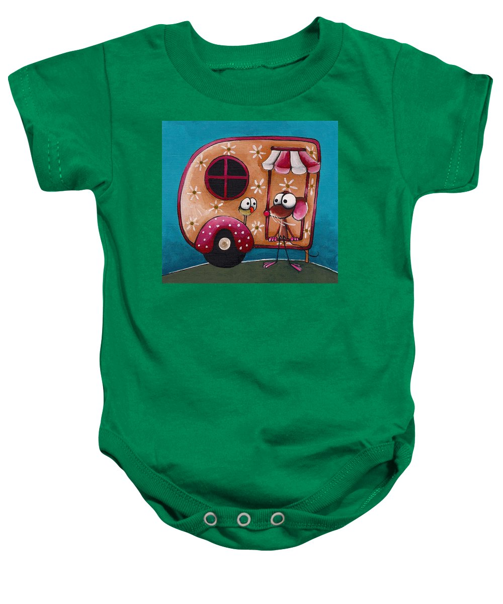 Whimsical Baby Onesie featuring the painting The Camper Van by Lucia Stewart