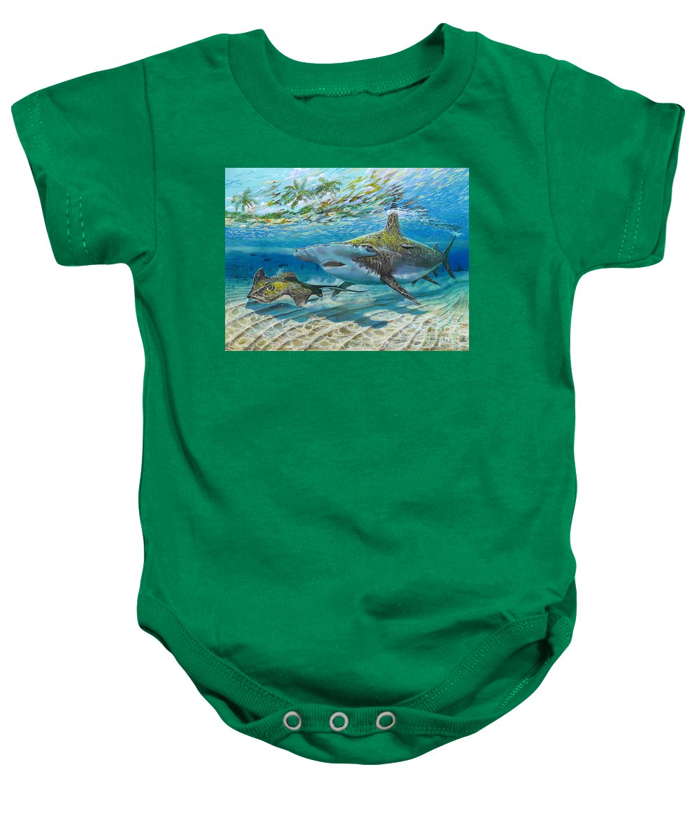 Shark Baby Onesie featuring the painting The Chase by Carey Chen