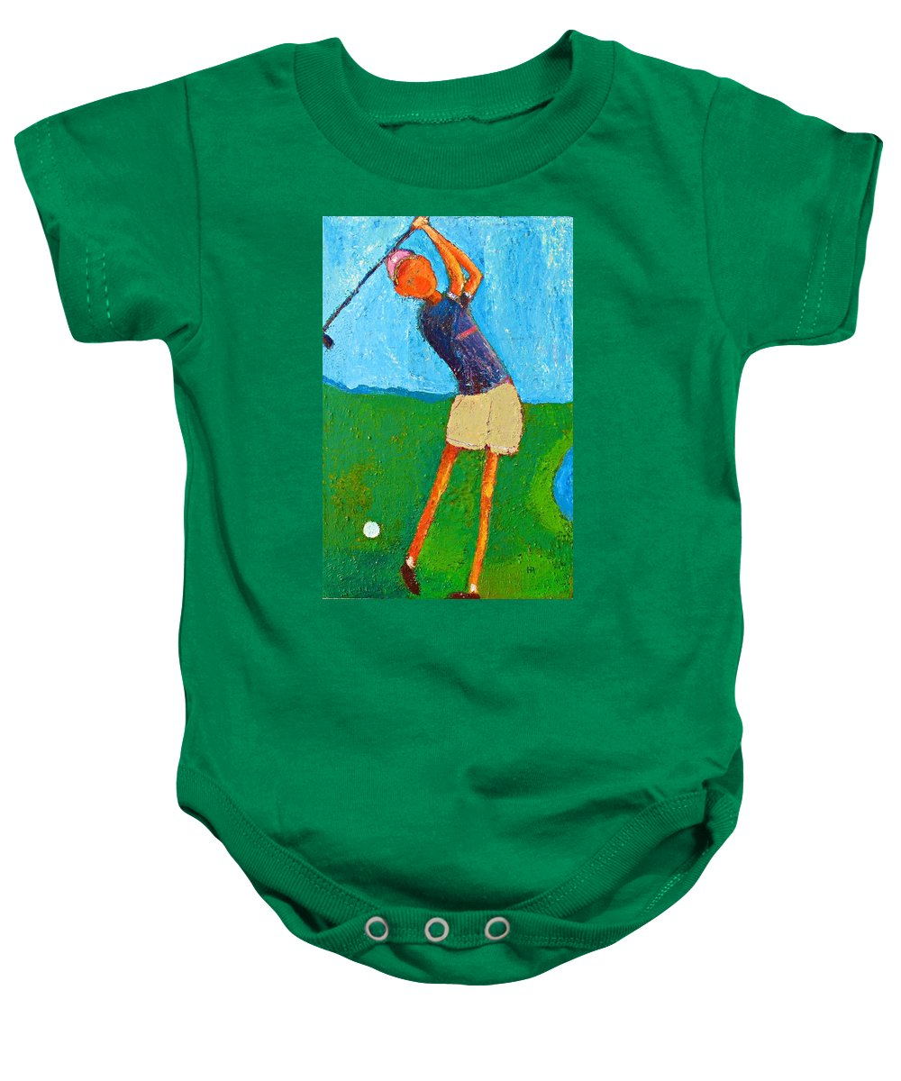 Abstract Baby Onesie featuring the painting The Little Golfer by Habib Ayat