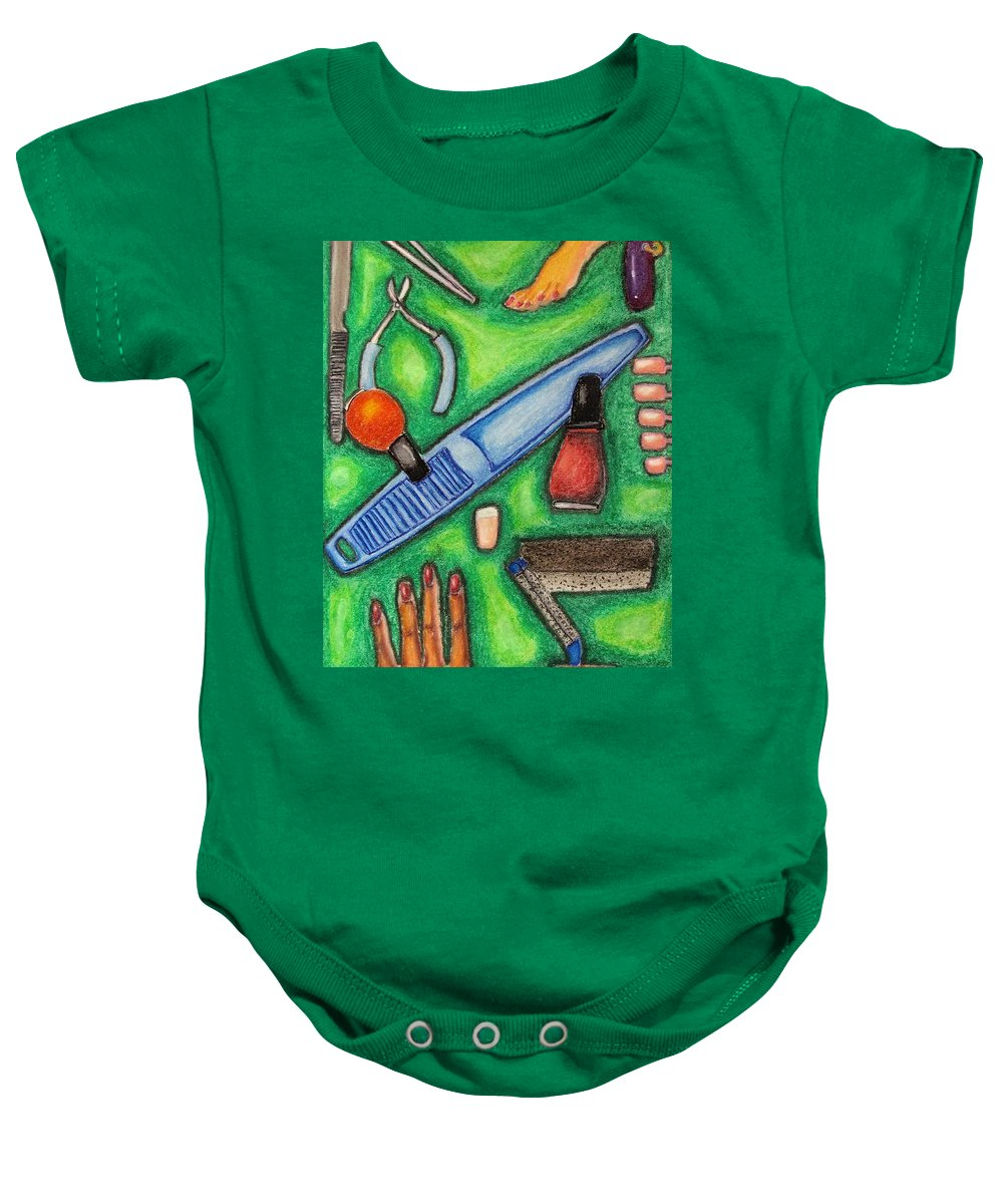 Files Baby Onesie featuring the drawing The Manicurist by William Bryant