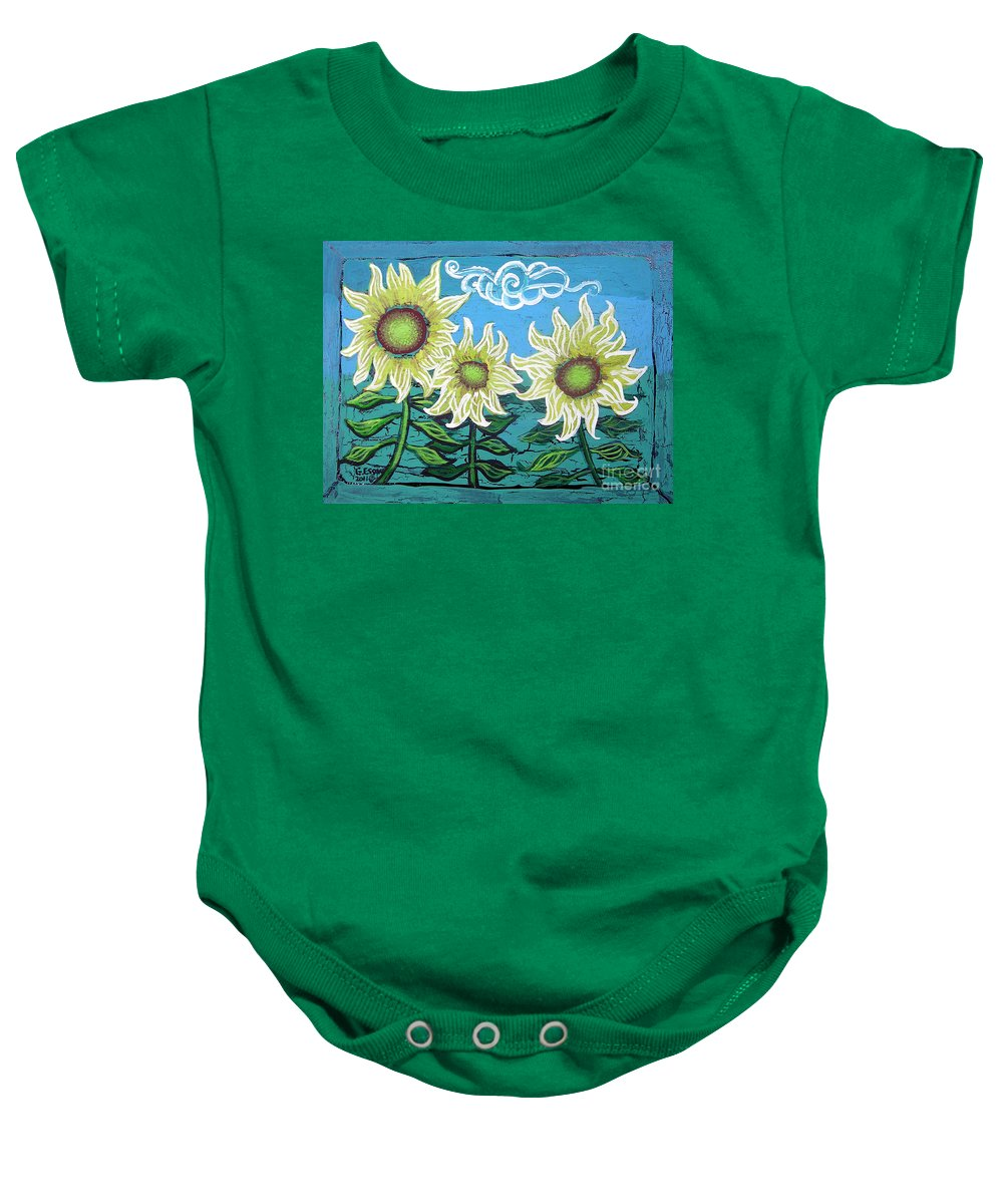 Sunflower Baby Onesie featuring the painting Three Sunflowers by Genevieve Esson