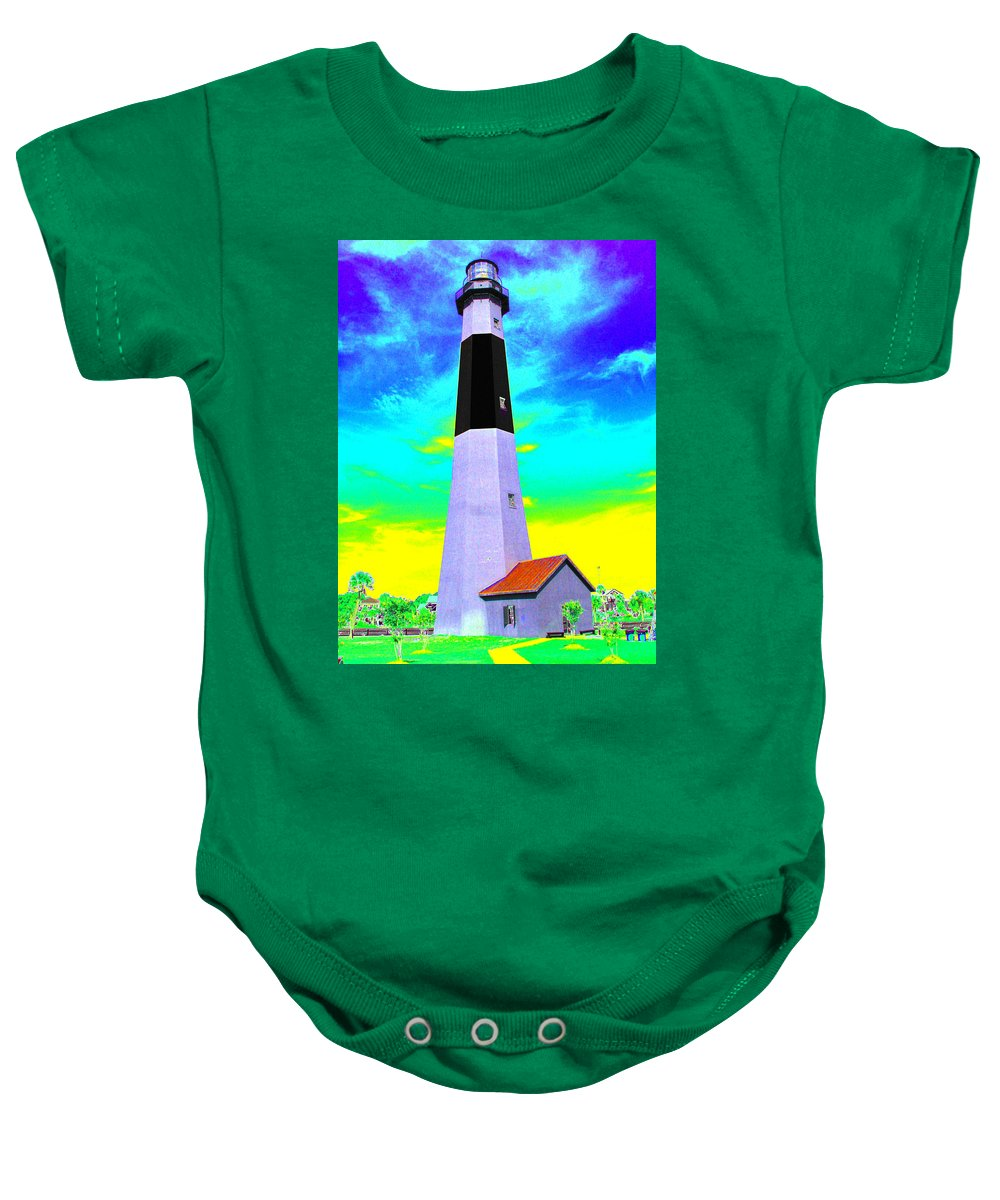 Tybee Island Lighthouse Baby Onesie featuring the photograph Tybee Island Lighthouse - Photopower by Pamela Critchlow