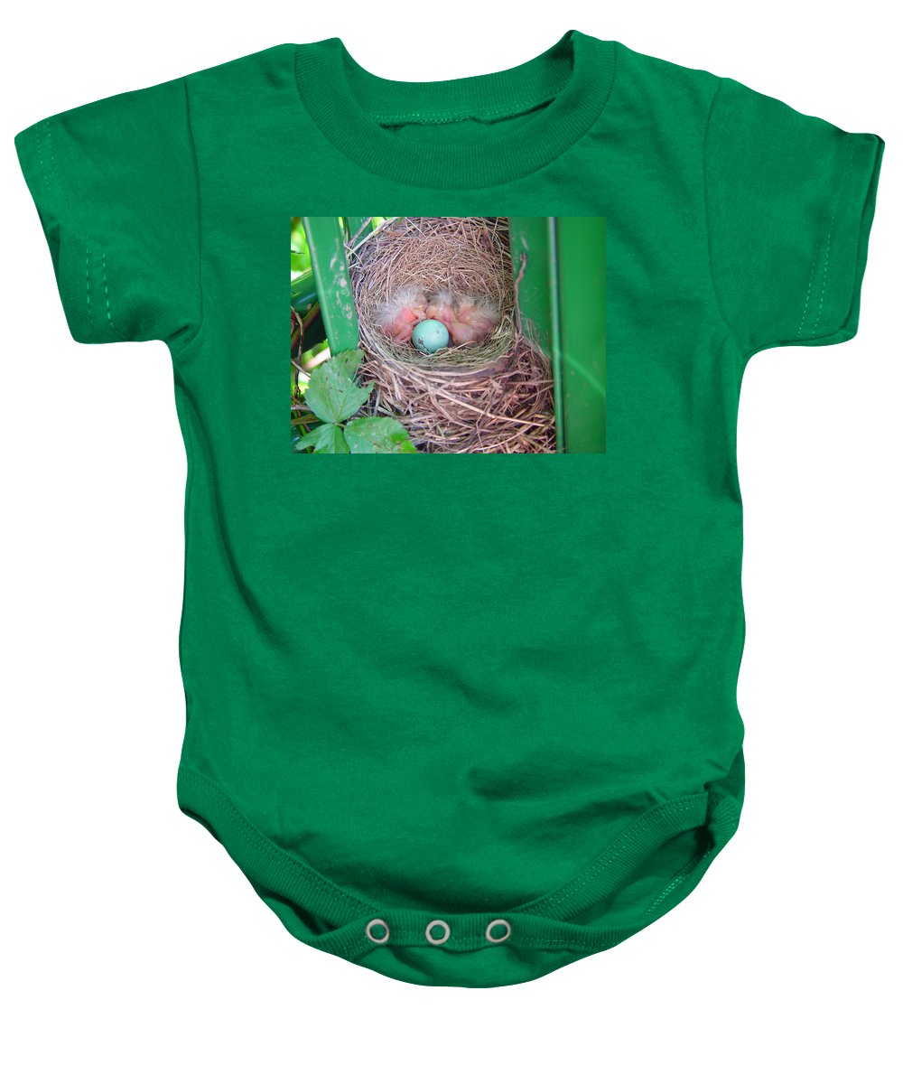 Hatching Baby Onesie featuring the photograph Welcome To The World - Hatching Baby Robin by James Scott Preston