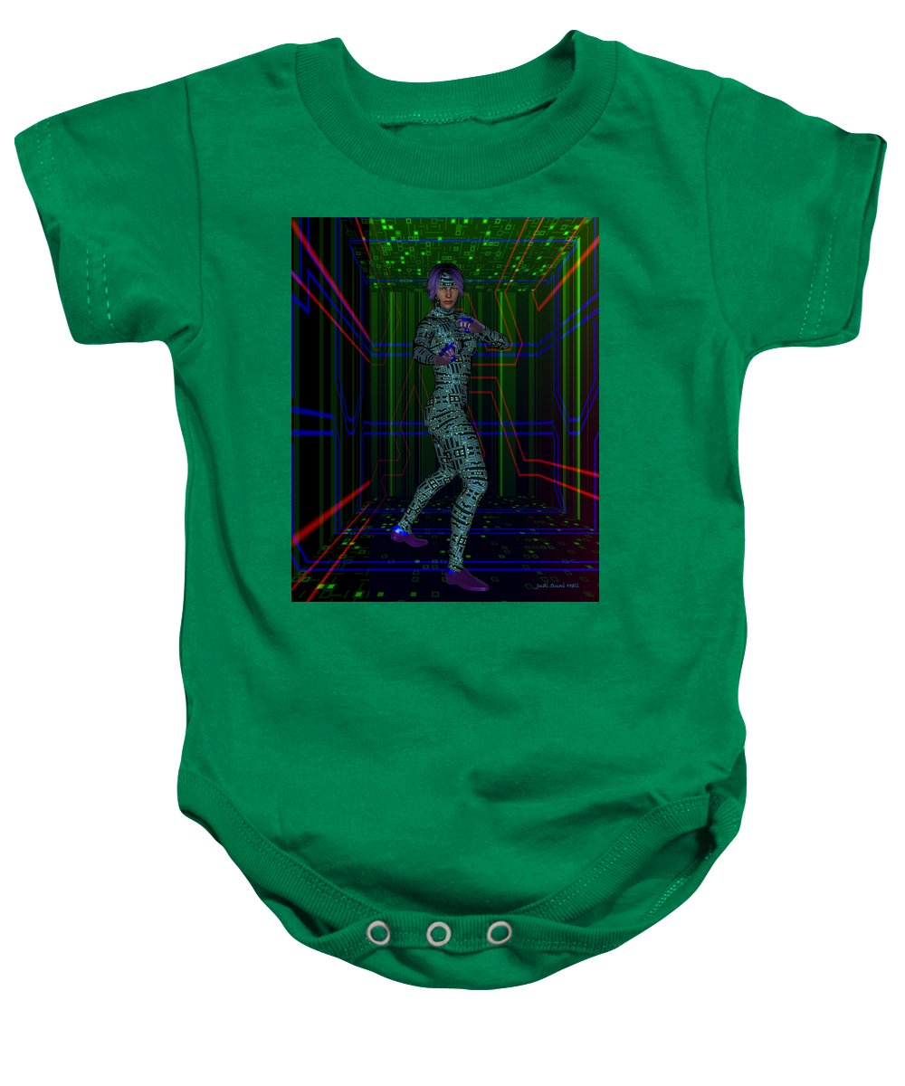 Science Fiction Baby Onesie featuring the digital art Woman In Cyber Passage by Judi Suni Hall