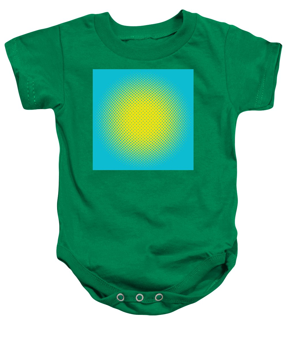 Popular Baby Onesie featuring the digital art Optical Illusion - Yellow On Aqua by Paulette B Wright