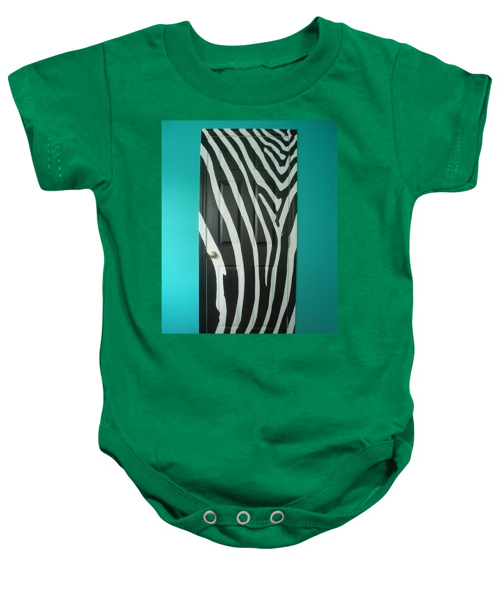 Design Baby Onesie featuring the painting Zebra Stripe Mural - Door Number 1 by Sean Connolly