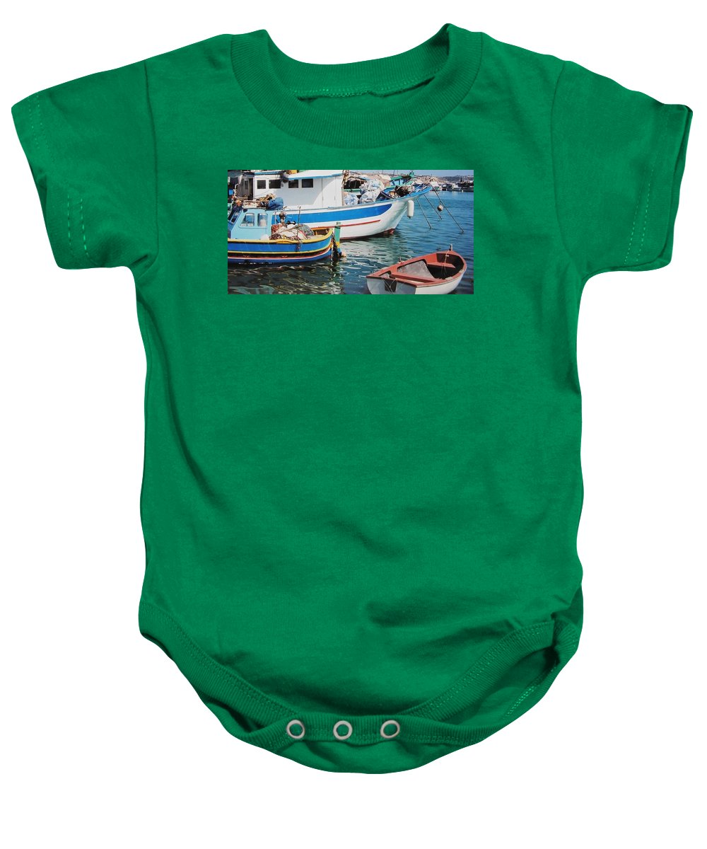 Malta Baby Onesie featuring the photograph Maltese Harbor by Ian MacDonald