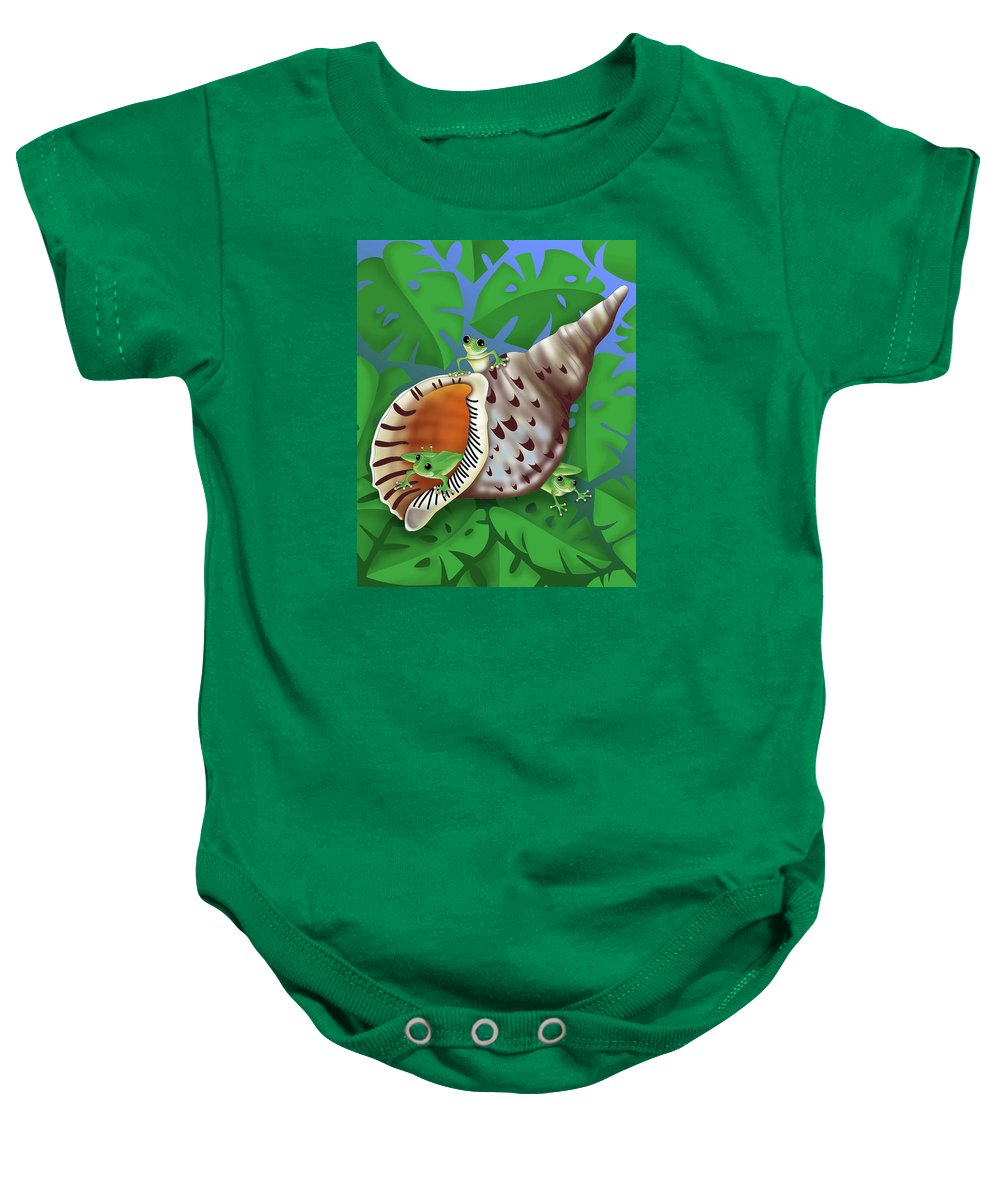 Frogs Baby Onesie featuring the digital art Bright Eyes by Alison Stein