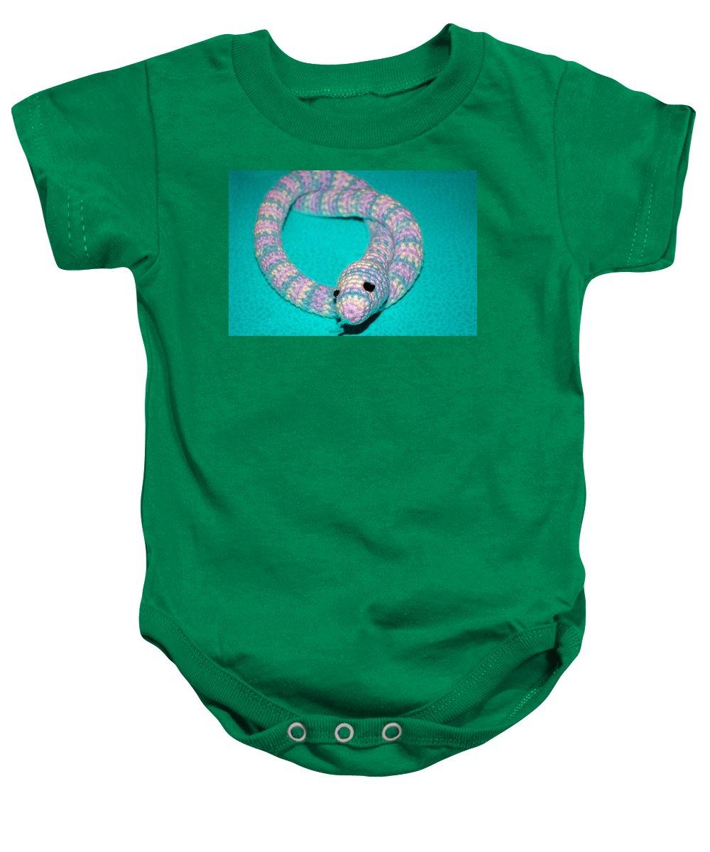 Usa Baby Onesie featuring the photograph Crochet Snake In Blue by LeeAnn McLaneGoetz McLaneGoetzStudioLLCcom