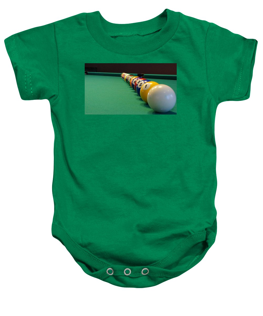 Billiards Baby Onesie featuring the photograph In A Row by Mick Anderson