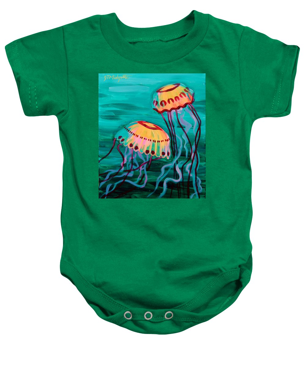 Jellyfish Baby Onesie featuring the painting Jellyfish In Green Water by Tommy Midyette