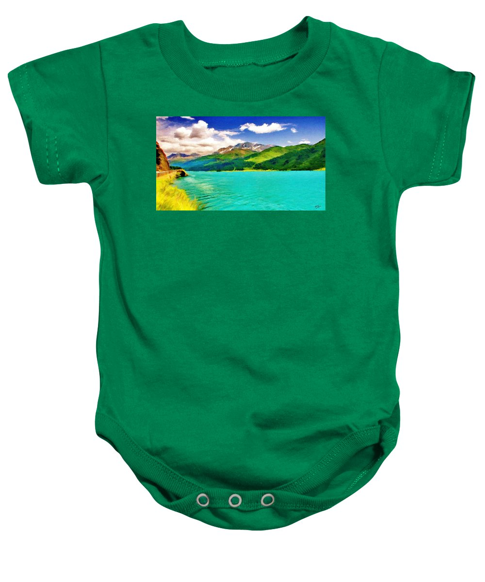 Lake Baby Onesie featuring the painting Lake Sils by Jeffrey Kolker