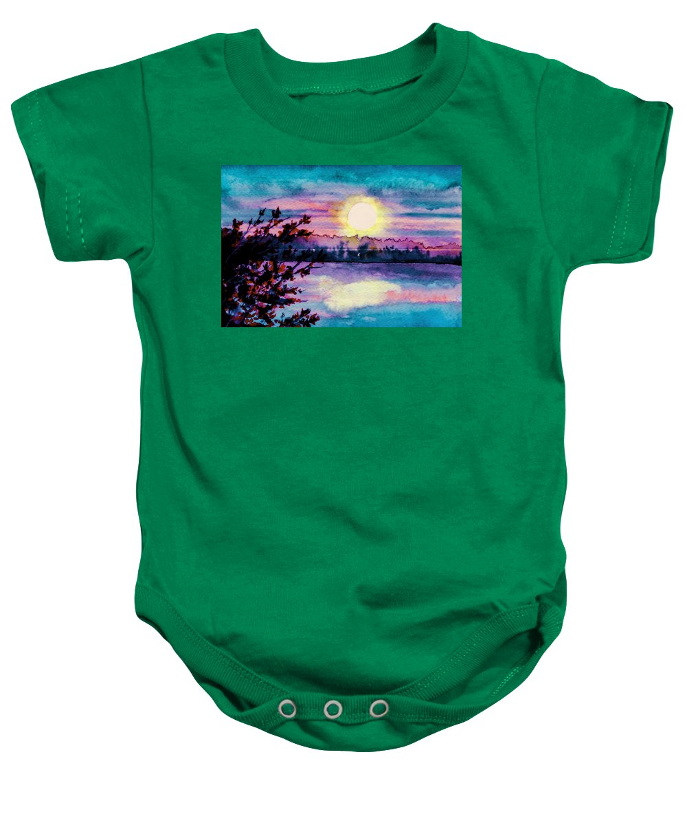 Watercolor Baby Onesie featuring the painting Maine October Sunset by Brenda Owen