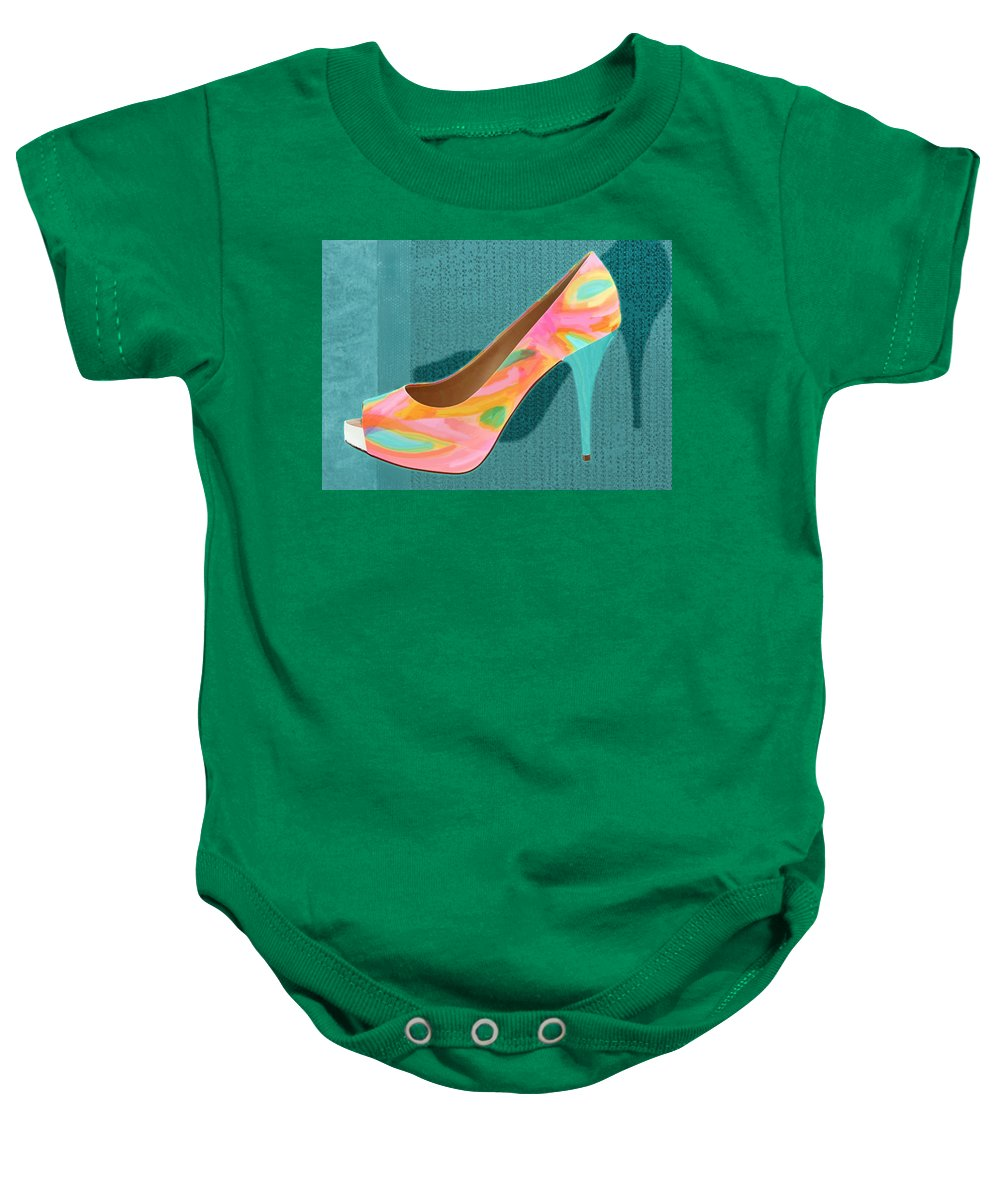 Shoes Heels Pumps Fashion Designer Feet Foot Shoe Baby Onesie featuring the painting Painted Leather Platform Pumps by Elaine Plesser