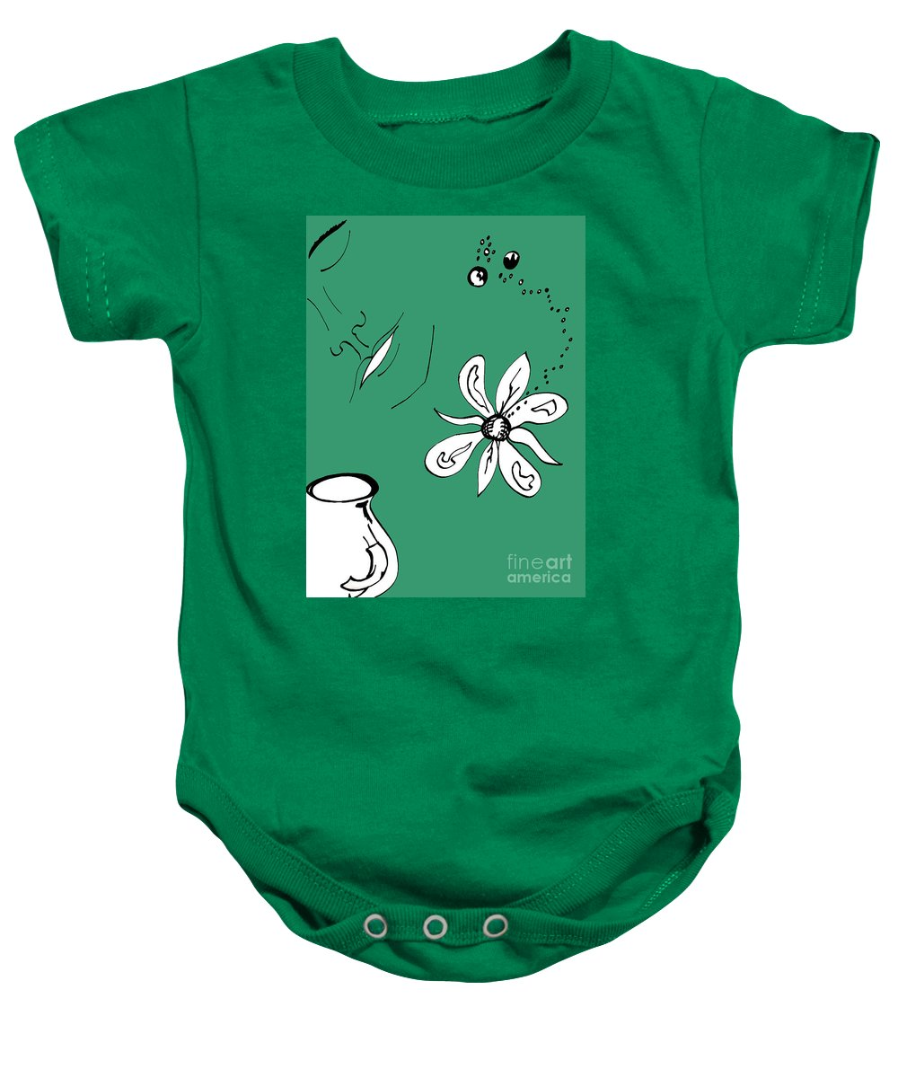 Contemplation Baby Onesie featuring the mixed media Serenity In Green by Mary Mikawoz