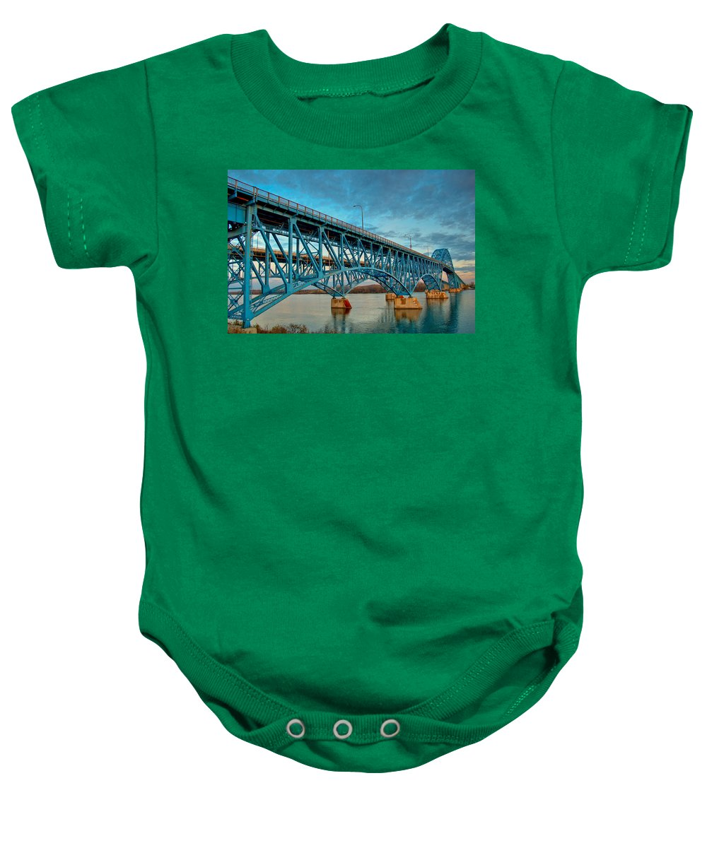 Bridge Baby Onesie featuring the photograph South Grand Island 3302 by Guy Whiteley