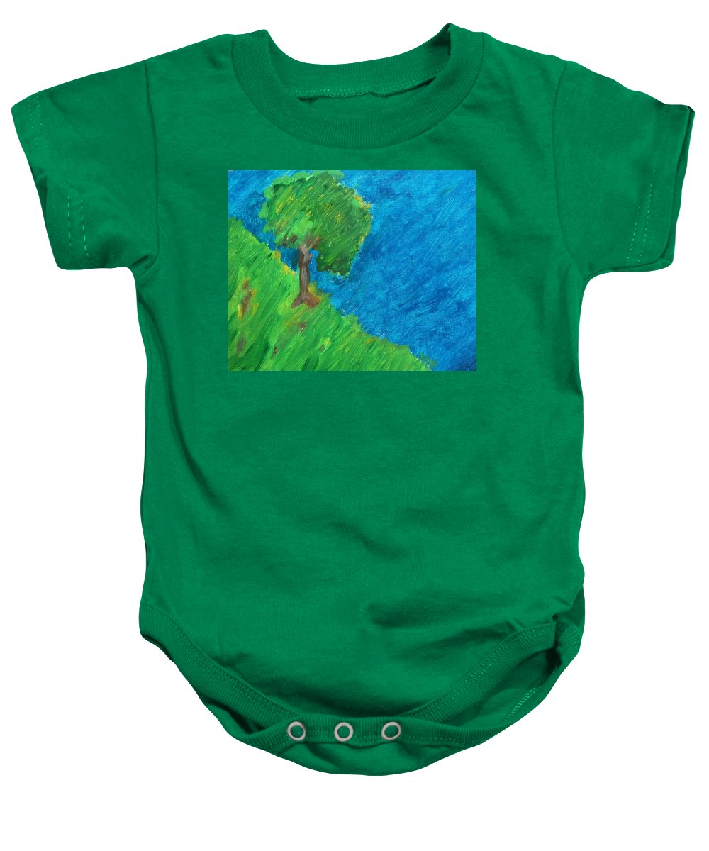Abstract Baby Onesie featuring the painting The Last Of August by Lenore Senior