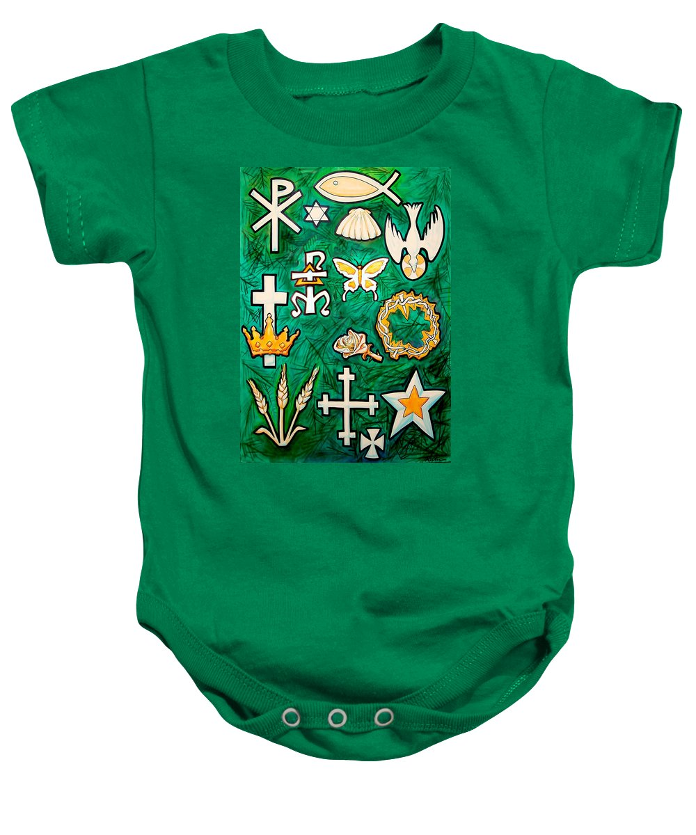 Chrismons Baby Onesie featuring the painting Chrismons by Kevin Middleton