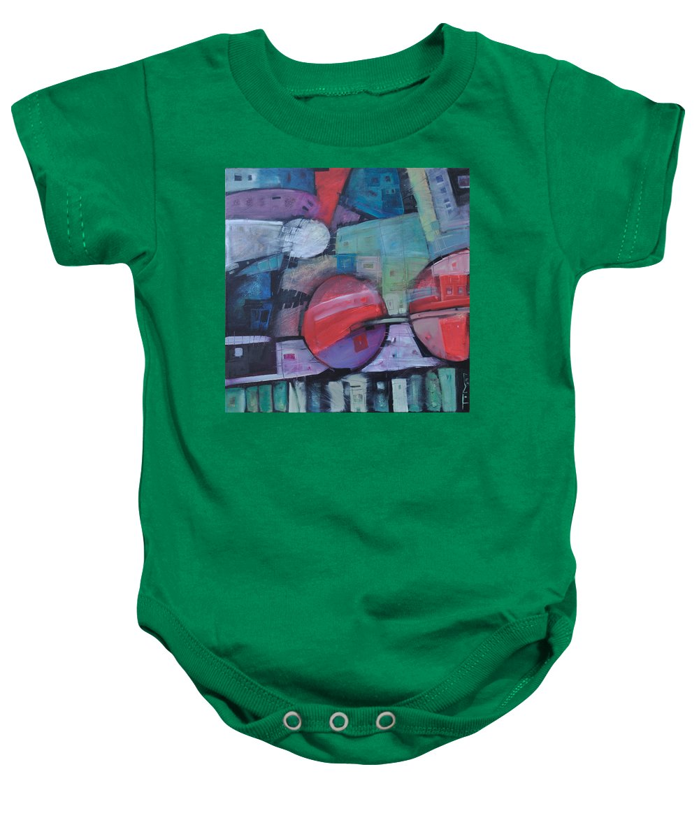 Train Baby Onesie featuring the painting Night Train by Tim Nyberg