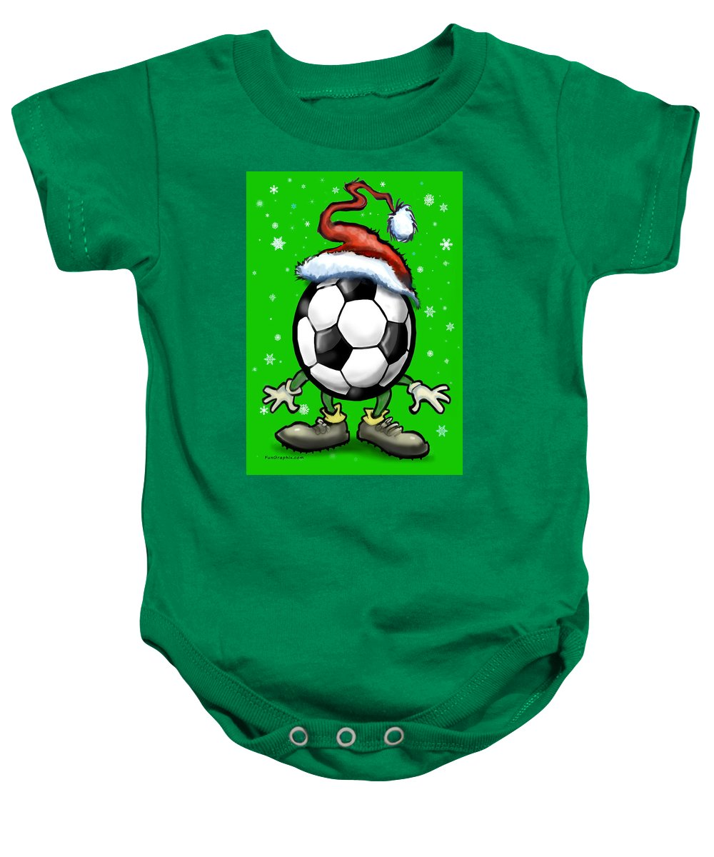 Soccer Baby Onesie featuring the greeting card Soccer Christmas by Kevin Middleton